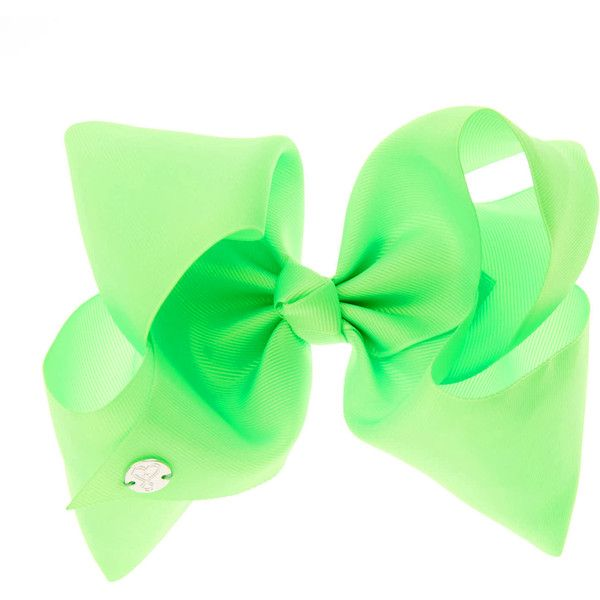JoJo Siwa Large Bright Green Neon Hair Bow | Claire's ($39) ❤ liked on Polyvore featuring accessories, hair accessories, bow, hair bows, neon hair bows, bow hair accessories, neon hair accessories and green hair accessories