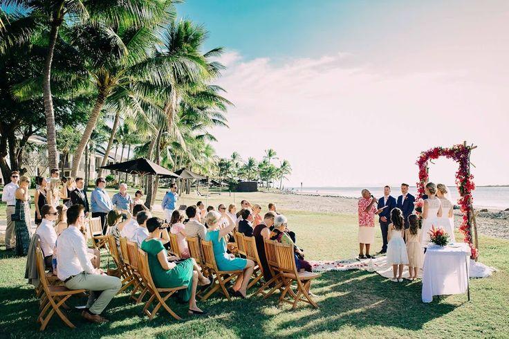 Fiji Beach Wedding Ceremony Set Up And Decorations By