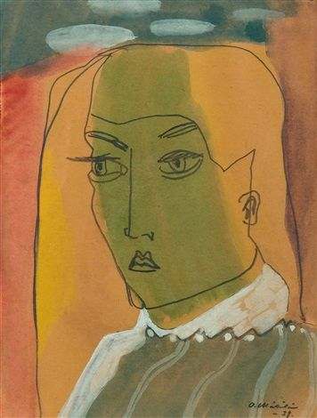 Otto Mäkilä, (Finland 1904-1955), Portrait, watercolor and pencil. Sold through auction.