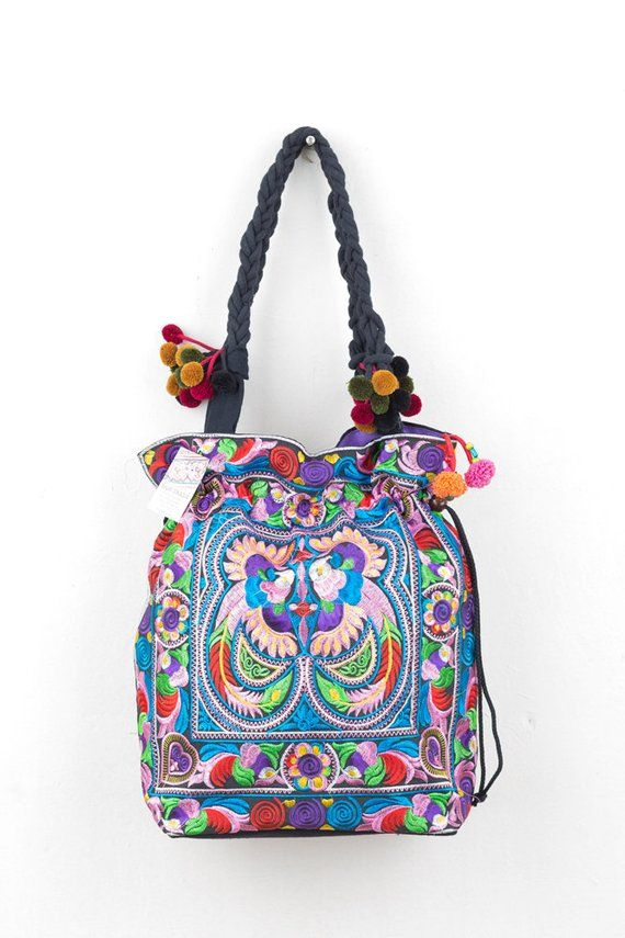 c0677163b Pom Pom Multi Birds Tote Bag with Draw String Thai Hmong Embroidered Fair  Trade (BG312CB)