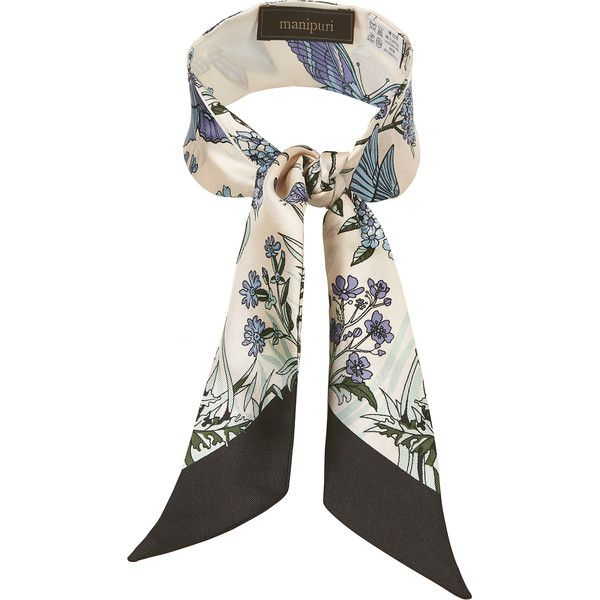 Manipuri Women's Butterfly And Floral Print Twilly Scarf ($79) ❤ liked on Polyvore featuring accessories, scarves, light purple, butterfly shawl, floral print scarves, butterfly scarves, silk shawl and floral shawl