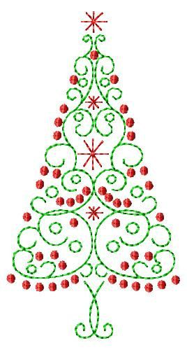 Scroll Christmas Tree Machine Embroidery by SimplySweetEmbroider, $5.00
