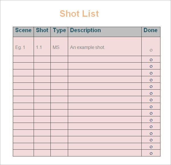 Shot List Templates 10 Free Printable Word Excel Pdf List