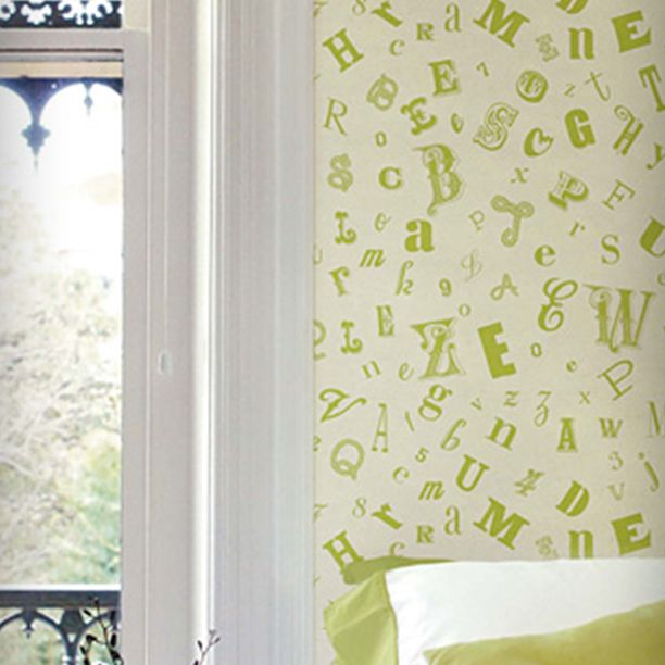 Summer sunday mornings spent with a crossword puzzle in bed will be all the more refreshing with a quirky alphabet wallpaper