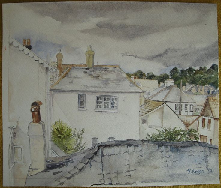Original Watercolour Of Calstock Village Cornwall