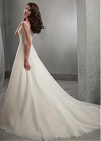 Buy discount Elegant Organza & Tulle V-neck Neckline Natural Waistline A-line Wedding Dress With Beaded Lace Appliques at Dressilyme.com