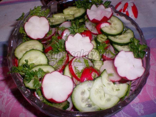 салат из огурцов и редиса