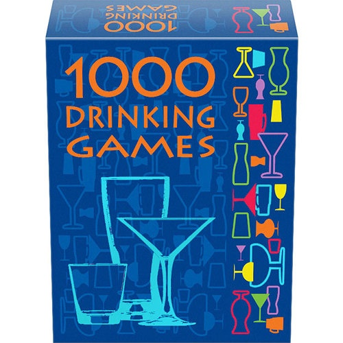 1000 Drinking Games: 1,000 Drinking Games combines rounds of classic and new drinking games with off-the-wall plot twists and a variety of drink assignments. This set includes all of the popular drinking concepts: dice games, card games, word games, tongue twisters, spinner games, categories, ranking-based games, etc.  $14.99  http://calendars.com/Pub-Games/1000-Drinking-Games/prod200600006731/?categoryId=cat430046=cat430046#