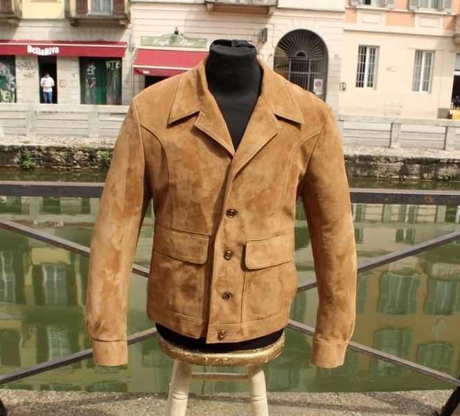 Giacca blazer pelle scamosciata Renna vintage 70 t