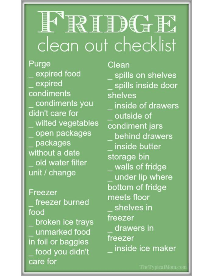 Free refrigerator clean out checklist and printable to help keep you on task! Tips on cleaning your refrigerator and freezer quickly while you purge.