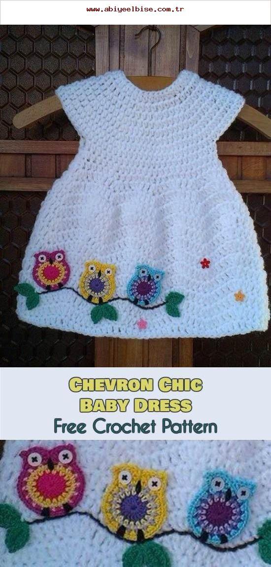 Chevron Chic Baby Kleid Und Eulen Kostenlose Häkelanleitung