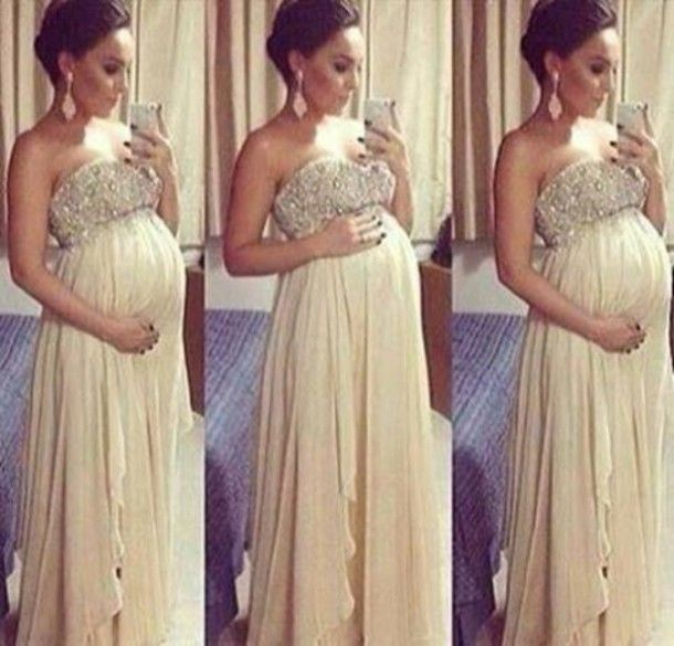 Dress beige dress beige gold long prom dress maternity dress sequin