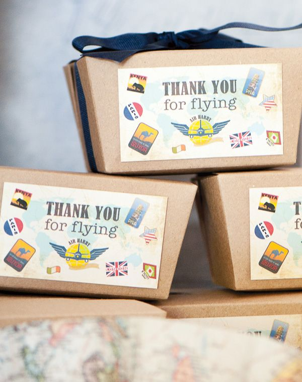 Harrys Vintage Airplane Party using kraft take out boxes and grosgrain ribbon for party favor gifts. http://www.nashvillewraps.com/food-packaging/take-out-boxes/c-049609.html
