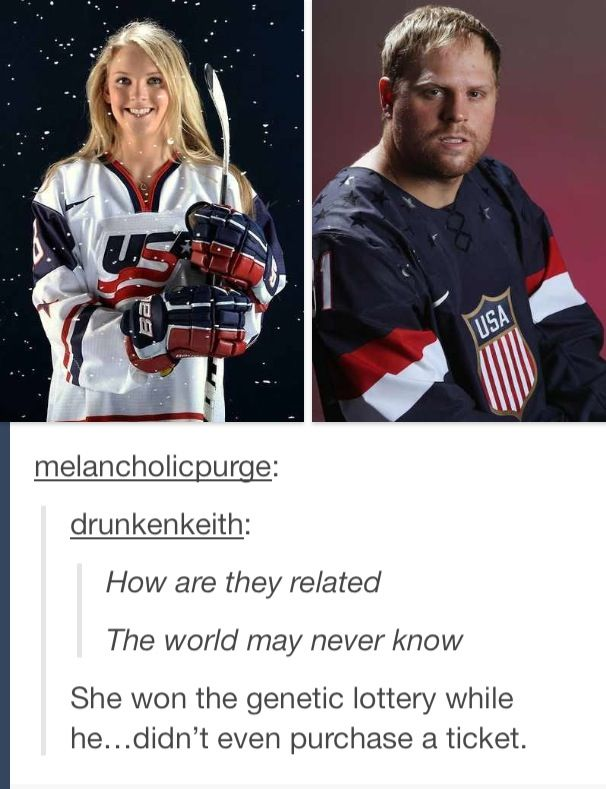 Amanda Kessel and Phil Kessel . Mean but true . They don't look anything alike.