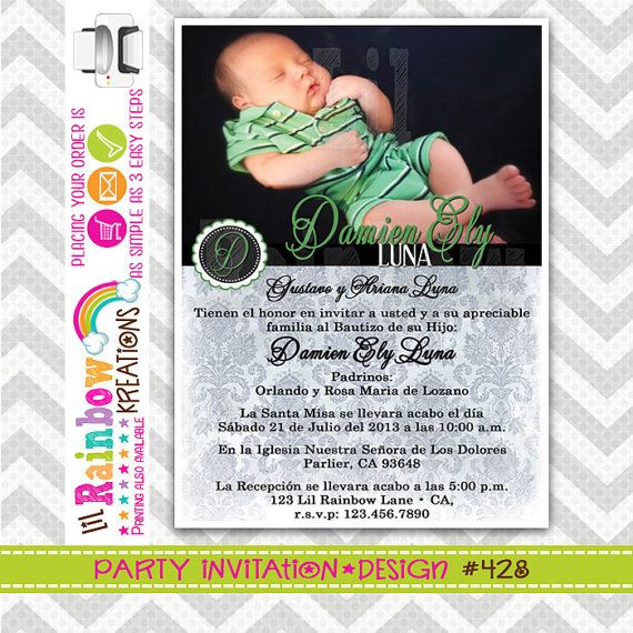 428: DIY  Lime Green and Black Damask Party Invitation Or