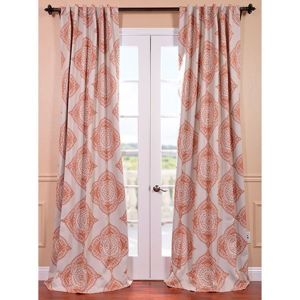 Half Price Drapes Henna Orange 50 x 96-Inch Blackout Curtain ($38) ❤ liked on Polyvore featuring home, home decor, window treatments, curtains, black out window curtains, orange blackout curtains, thermal window curtains, blackout window curtains and black out curtains