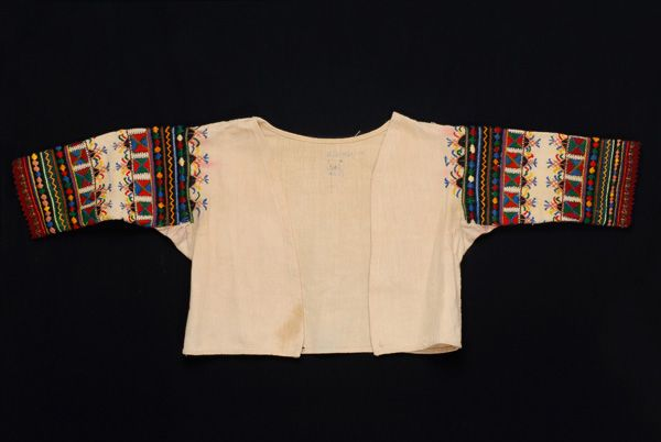 Τζάκος ή διμίτι , λευκός κοντομάνικος μπούστος από.. | openarchives.gr -white  short sleeve boust made of cotton-bridal,Korinthos -peloponesse-Greece