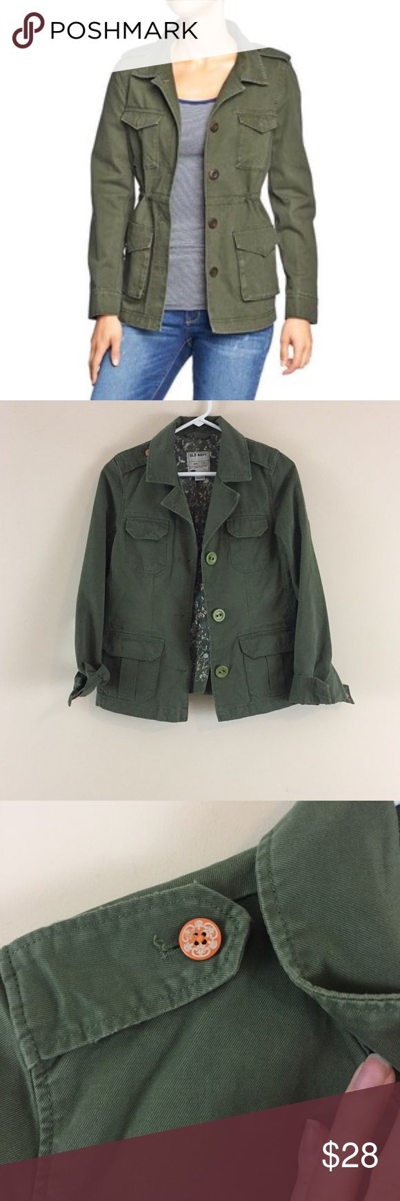 "Old Navy 4-pocket olive green military jacket Old Navy four pocket military jacket in olive green. Distressed in pockets (made that way). Size Small. 17.5"" pit to pit and 24"" long. Stock photo is similar jacket not exact one. Only difference is mine does not have a drawstring waist. Old Navy Jackets & Coats Utility Jackets"