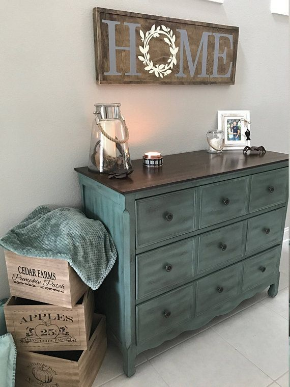 Rustic decor, home decor, diy, home sign, teal furniture, bureau, farmhouse crates, home decor, diy, style, modern, candles, blanket storage, Farmhouse Home Rustic Wood Sign with Hidden Mickey (aff link) #ad