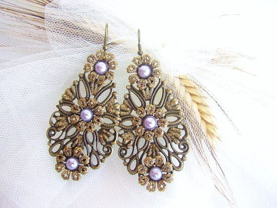 Filigree earrings radiant orchid lace floral by MalinaCapricciosa, $12.50