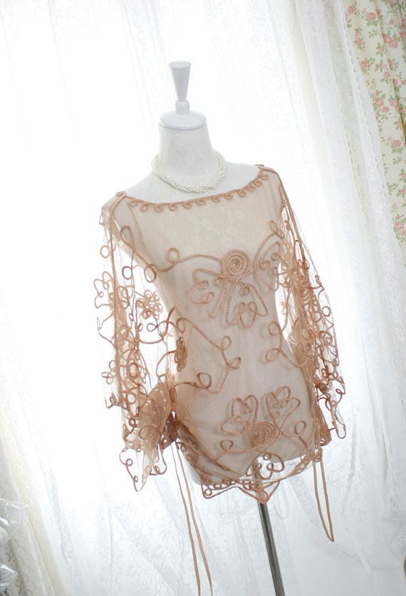 Victorian airy beige lace flower embroidery by miadressshop, $36.00