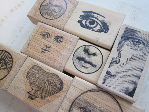 8 rubber stamps - EYES and FACES, anatomy