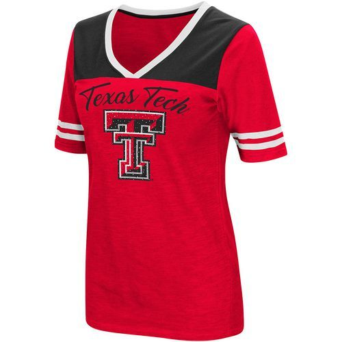 Colosseum Athletics Women's Texas Tech University Twist 2.1 V-Neck T-shirt (Red, Size X Large) - NCAA Licensed Product, NCAA Women's at Academy Sports