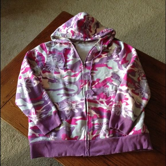So cute. Old Navy zip up hooded sweatshirt. Adorable in a purple, gray, and pink flowered camo. Old Navy Jackets & Coats