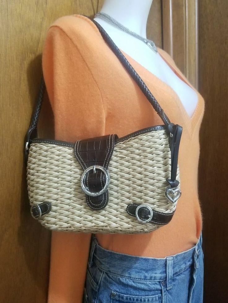 Brighton purse vintage shoulder bag wicker straw brown leather trim #Brighton #ShoulderBag