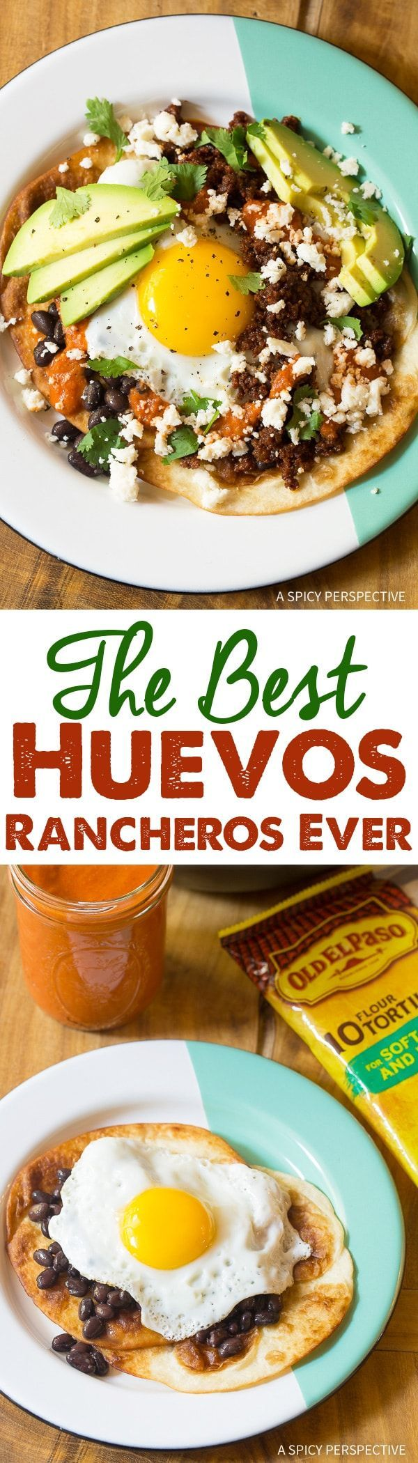 The Best Huevos Rancheros Recipe, starts with the absolute best Ranchero Sauce! Make the sauce first, then whip up amazing Huevos Rancheros any time you like. via @spicyperspectiv