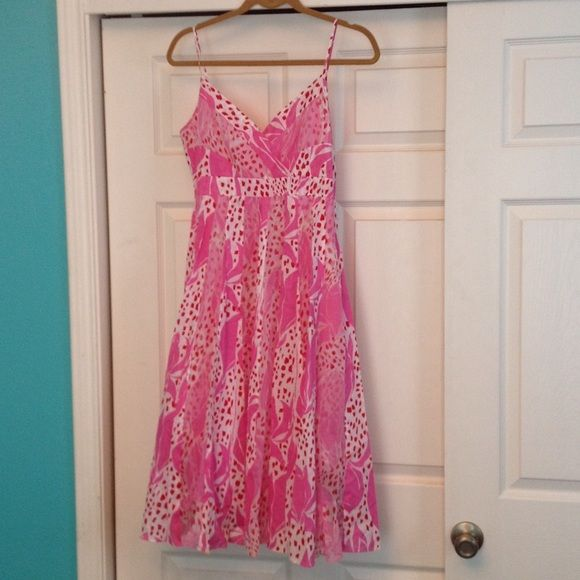 """Colorful Patterned Dress Diane Von Furstenburg red, white and hot pink festive dress. Spaghetti straps. Tag with size has been removed. Waist band measures 25"""" and length is 41"""" (from top of strap to bottom of hem) Diane von Furstenberg Dresses"""