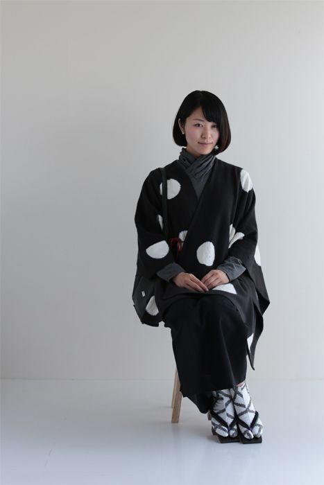 """kisaragi"" new poncho style winter coat with Japanese touch, dyed by Japanese Shibori artisan in Kyoto $178 #poncho,#kimono,#sousou,#japan,#shibori"