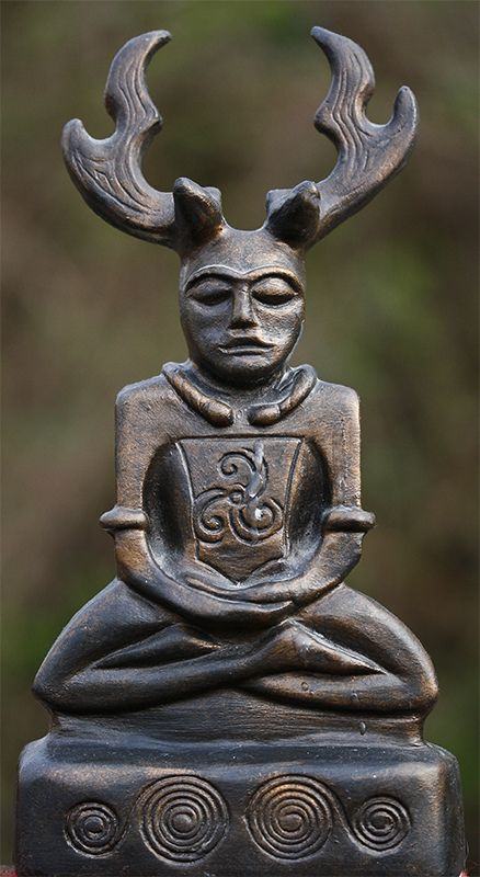 """Cernunnos. """"The Horned One"""" is a Celtic god of fertility, life, animals, wealth, and the underworld. He was worshipped all over Gaul, and his cult spread into Britain as well. Cernunnos is depicted with the antlers of a stag. The Horned God is born at the winter solstice, marries the goddess at Beltane, and dies at the summer solstice. He alternates with the goddess of the moon in ruling over life and death, continuing the cycle of death, rebirth and reincarnation"""