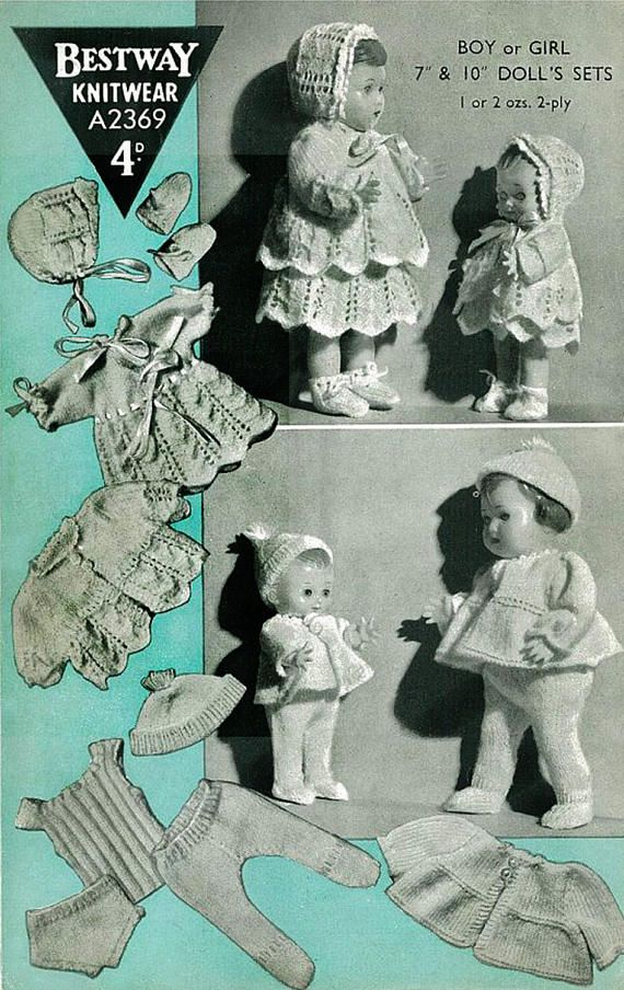 PDF Vintage Doll Clothes Knitting Pattern 1950s Bestway 2369