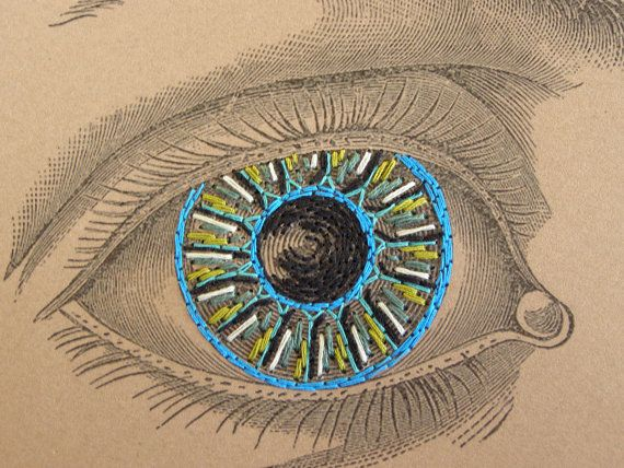Vintage Eye. Paper Embroidery. Fiber Art. by FabulousCatPapers