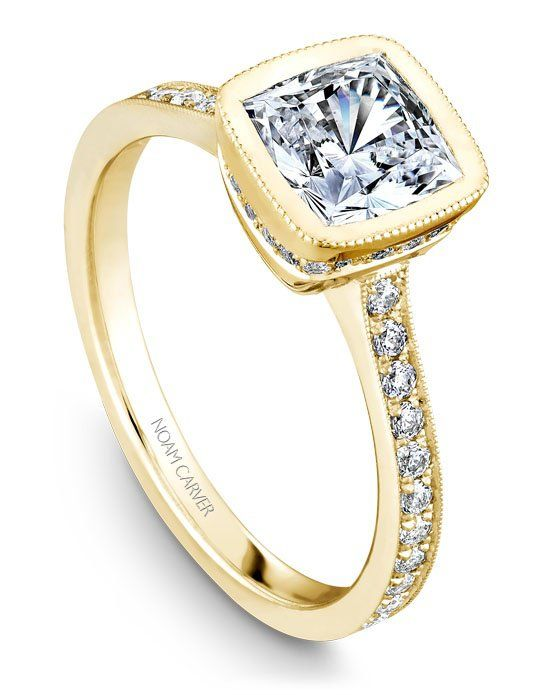 18k yellow gold vintage bezel set engagement ring with a TCW of 0.32ct