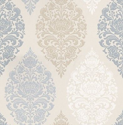 Loriana Porcelain (1612/047) - Prestigious Wallpapers - A wallpaper design with an all over damask motif in various colours. Shown here in blue, cream, taupe and beige. Other colourways are available. Please request a sample for a true colour match. Paste-the-wall product.