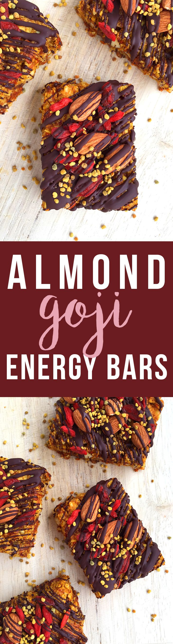 These grain-free Almond Goji Energy Bars are made of just nuts, fruit, coconut, eggs and love! (Drizzle with unsweetened chocolate if desired) | Fresh Planet Flavor