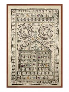 Saura Tribal Life Painting on Silk 25in x 16in