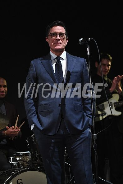Stephen Colbert speaks on stage at the MoMA Film Benefit presented by CHANEL, A Tribute To Tom Hanks at MOMA on November 15, 2016 in New York City. (Photo by Dimitrios Kambouris/WireImage)