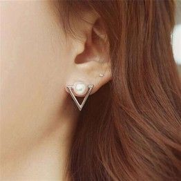 ZHEN TOMOMI Triangle Simulated Pearl Stud Earrings