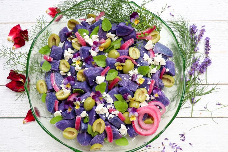 Purple Potato Salad with Pickled Red Onions & Feta