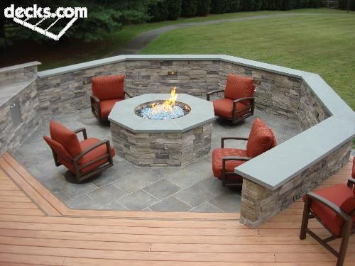 Fire pit built into the deck! | For my house! | Pinterest ...