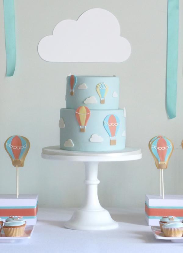 Hot Air Balloon 1st Birthday Party Ideas + Cake via Kara's Party Ideas karaspartyideas.com