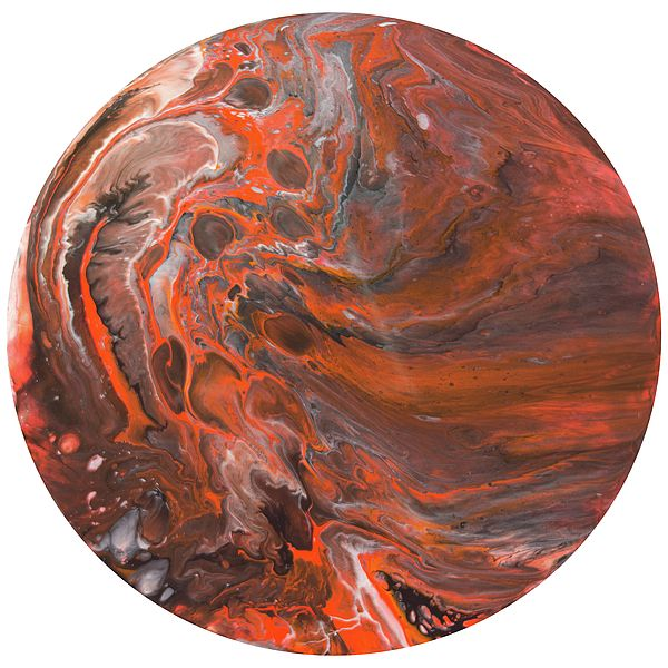 Polaris 9 - A contemporary painting created using acrylic pour techniques. Painted on plastic coated aluminium discs. Inspired by the planets and sci-fi fantasy visual themes.