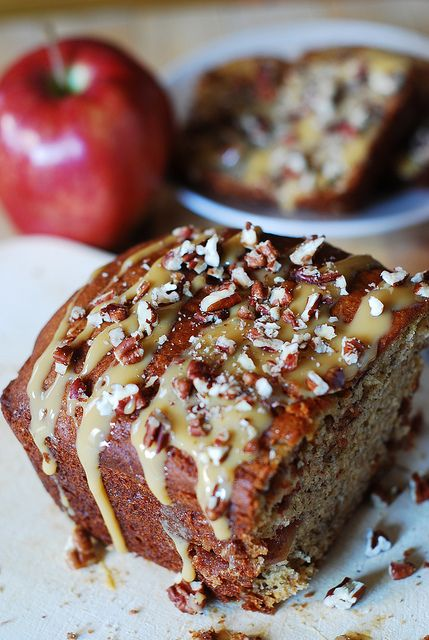 Banana apple bread with caramel sauce and pecans by JuliasAlbum.com ...
