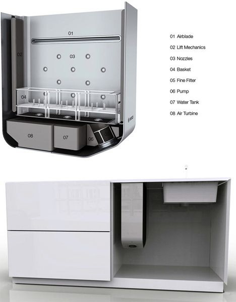Small built in washer / Tiny Single-Serving Dishwasher by Robert Lange / http://www.robertlange.net