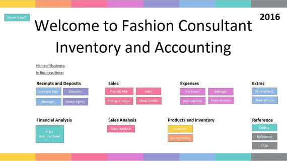 FULL VERSION  Fashion Consultant Inventory and by EZPZSpreadsheets