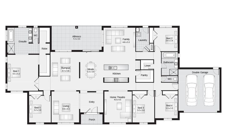 Maitland 40    Floor Plan - 375.70sqm, 30.90m width, 14.10m depth    Clarendon Homes