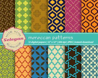 Corallo grigio marocchino Scrapbooking carta digitale di Selegan